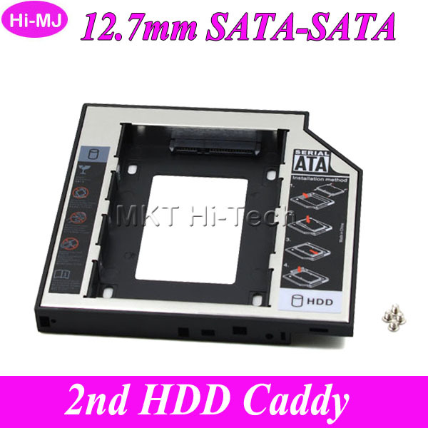 "2015 New for Laptop DVD-ROM CD-ROM OptiBay Universal 2nd HDD Caddy 12.7mm 2.5"" SATA 3.0 SSD HDD Case Enclosure Aluminum Plastic(China (Mainland))"