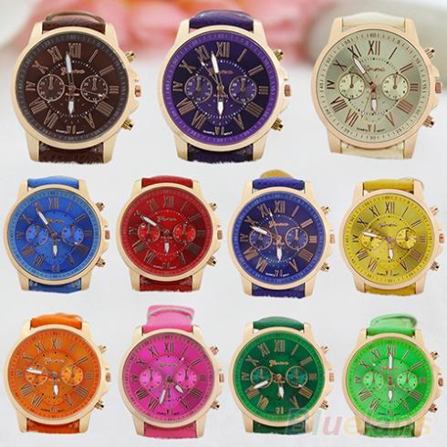 Womens Fashion Geneva Roman Numerals Faux Leather Analog Quartz Wrist Watches 1Q7H<br><br>Aliexpress