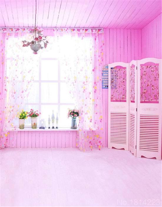 3x5ft Gauze Curtain Sunshine Window Sill Light Pink Wooden