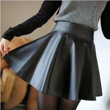 JJ Free Shipping High Waist Skirts Womens Skirt Women Caual Elastic Waist Mini Pleated Leather Skirts Female saias femininas A2