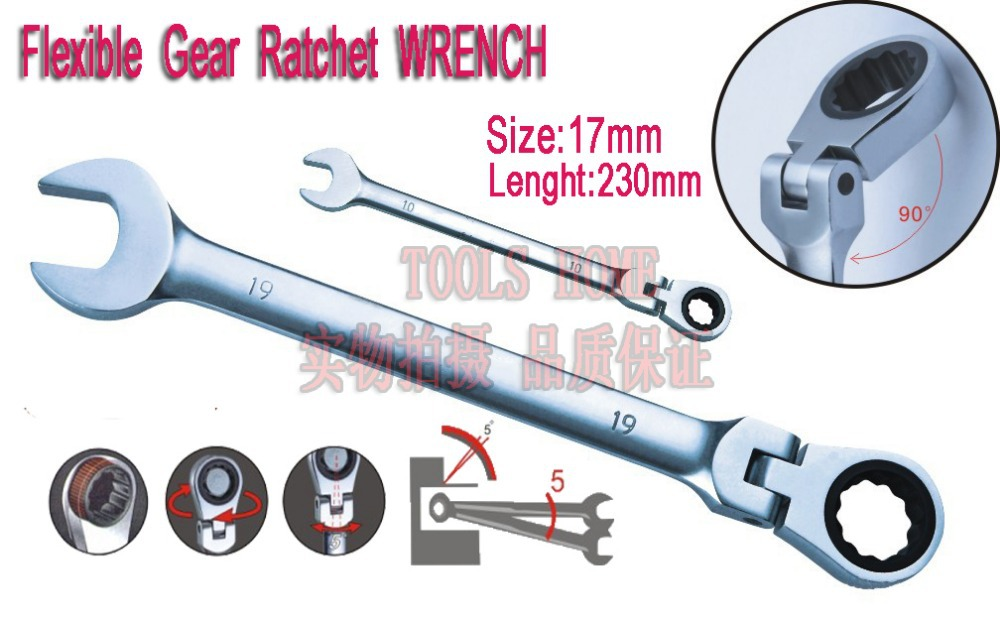 Free shipping!1pc11/16&amp;17mm,Mirror polish,72teeth gear,chrome vanadium metric FLEXIBLE ratchet combination wrench,spanner,tools<br><br>Aliexpress