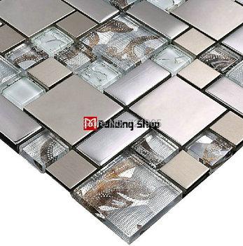 Glass mosaic tile backsplash SSMT111 silver metal mosaic stainless steel mosaic tiles sheet stainless steel mosaic glass tiles