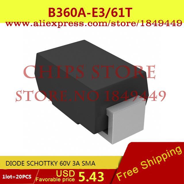 Бесплатная Доставка Diy Интегральных Схем B360A-E3/61 Т ДИОД ШОТТКИ 60 В 3A SMA B360A-E3 360 B360 20 ШТ. запонка arcadio rossi запонки со смолой 2 b 1026 20 e