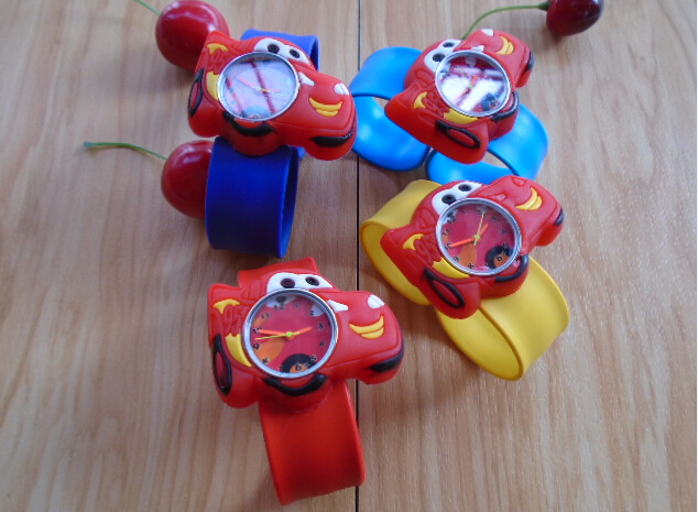 Free shipping Cartoon cars slap on kids children boys wrist watch silicone jelly sports(China (Mainland))