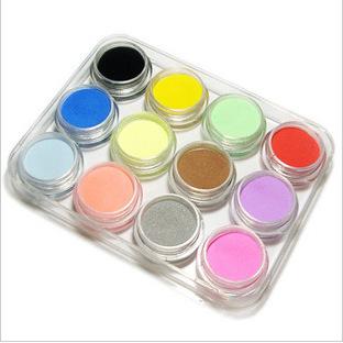 12pcs/set UV gel 12 colours DIY Make Up Shiny Glitter Acrylic UV Powder Dust Gem Nail Art glitter Tip Decoration JZ184(China (Mainland))