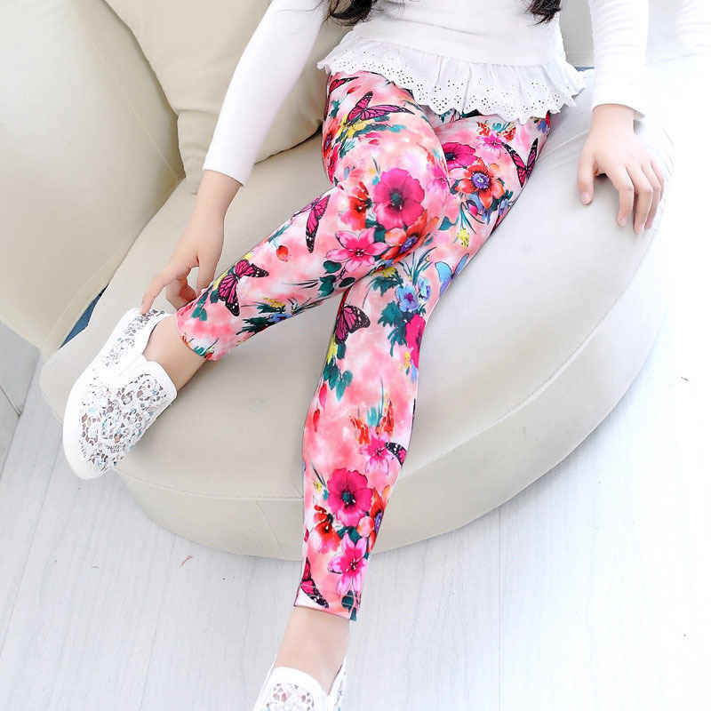 Hot Sale High quality Girls Pants Leggings Baby Pants Print Flower Butterfly Classic Children Pants(China (Mainland))