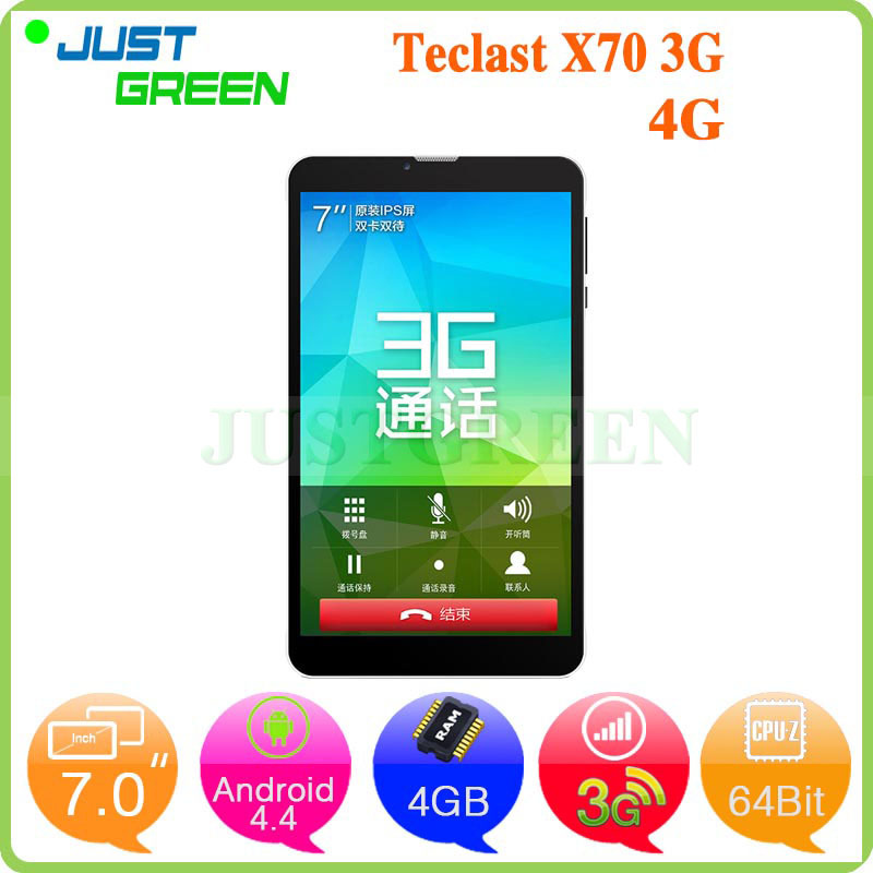 7 inch 3G Phone Call Tablet PC Teclast X70 Intel SoFIA x3-C3130 64Bit 1.0GHz Dual Core 512MB RAM 4GB ROM GPS Android 4.4(China (Mainland))