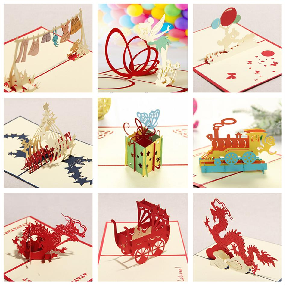 Kirigami 3D Pop up Card Birthday Cards for Children Handmade Greeting Cards 9PCS/SET Combination Sale Free Shipping(China (Mainland))