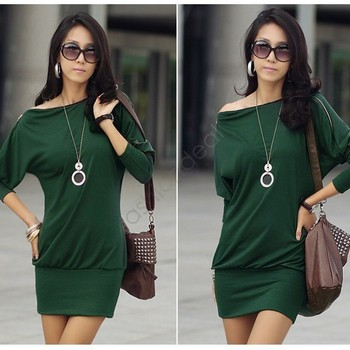 2014 New Women Autumn Mini Dress Korea Long Sleeve Batwing Off-Shoulder Tops Zip Shirt Dress Black, Green  free shipping 41
