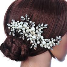 Top Sell Wedding Hair Jewelry Flowers Rhinestone Tiara Pearl Fabric Bridal Crown Floral Hairdress SL(China (Mainland))