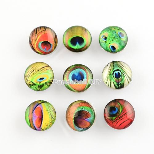 Mixed Color Pattern Brass Jeans Buttons, Snaps Buttons, with Flat Round Glass Cabochons, 10x18mm; Knob: 5~5.5mm(China (Mainland))