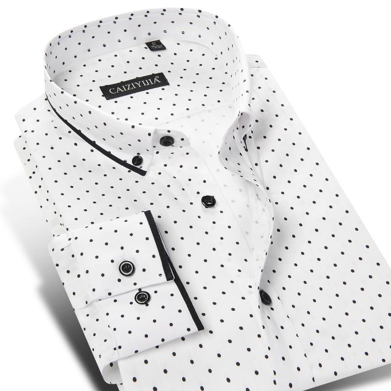 100% Cotton Brand Men Polka Dot Casual Shirt Long Sleeve Formal Business Slim Fit Male Dress Shirts Plus Size 4XL Autumn Style(China (Mainland))