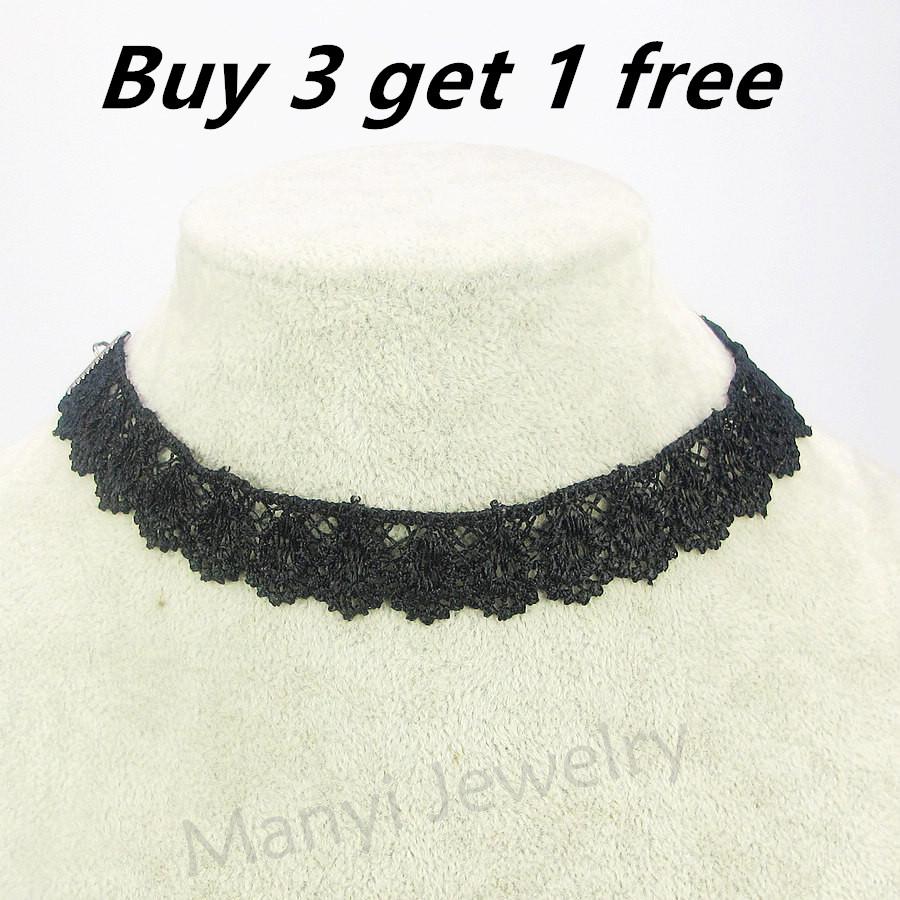 J0003 Buy 3 Get 1 Free Fashion Women 2016 Vintage Handmade Retro Short Sexy Lace Flower Choker Necklace Jewellery Wholesale(China (Mainland))