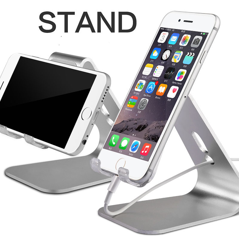 High quality 360 Degree Rotatable Aluminum Alloy Table Stand Holder for Apple iPad Air Tablet PC Metal Holder for iPhoen6 plus(China (Mainland))