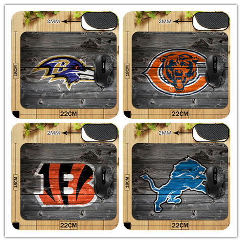 New Arrival AFC-NORTH and NFC-NORTH America Football Team Logo With Wood Style Mouse Mat Non-Skid Rubber Pad(China (Mainland))