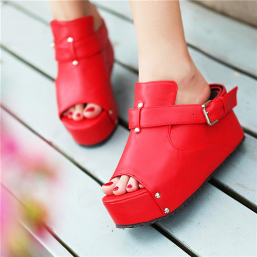 Novelty Womens Punk Peep Toe Wedge Mid Heel Platform Rivet Casual Slide Sandals Plus Large Size US4.5-10.5 - Shop639677 Store store