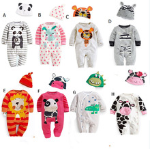 2015 new newborn clothing baby boys clothes baby girl romper cartoon casual jumpsuit multicolored hats clothing sets