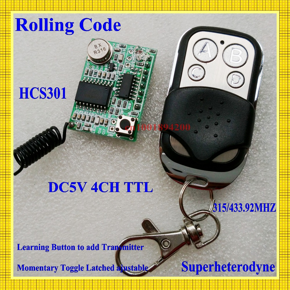 Rolling code Receiver Module Transmitter RF Wireless Remote Control super-heterodyne DC3-5V Learning code 4CH Output TTL(China (Mainland))