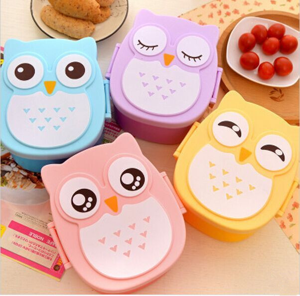 Food container Plastic Lunch Box kids lunch box lovely carton lancheira Dinnerware cutlery for kid japanese food box bento box(China (Mainland))
