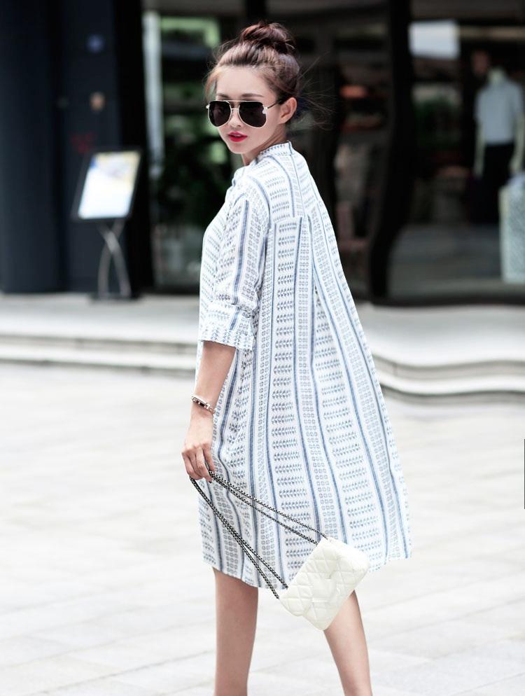 Cotton Linen Dress Styles Striped Plus Size Dresses Women 2015 Vestidos Autumn Long Sleeve Shirt Dress Women Dress Casual XL-5XL(China (Mainland))