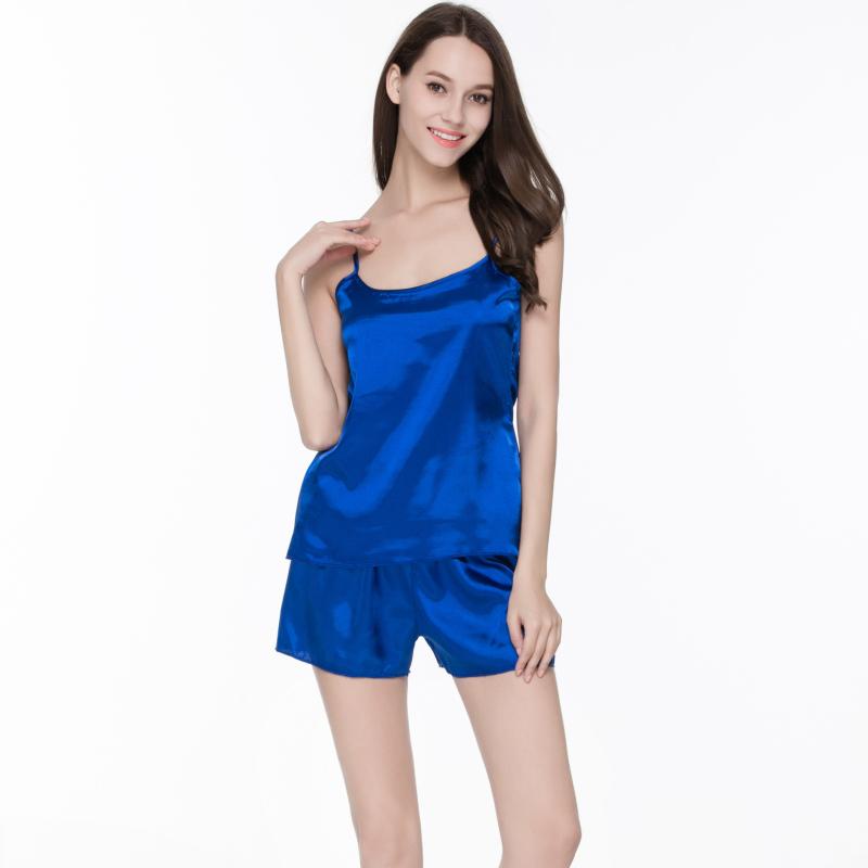 2016 New Summer Women Pijamas Nightwear Pajamas Set Sleep Wear Nightwear Set Shorts Silk Satin Indoor Clothing(China (Mainland))