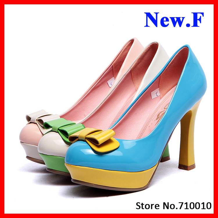Shiny PU Skin Round toe Women High Heels Shoes for Women Pumps with Bow Tie Front Sweet Women Pumps Platform Shoes<br><br>Aliexpress