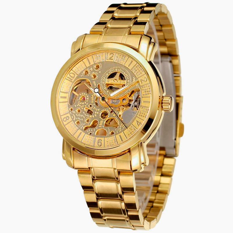 Winner Men's Watch Skeleton Automatic Stainless Steel Bracelet Analog Display Brand Business Wrist Watch men Male Golden W184601(China (Mainland))