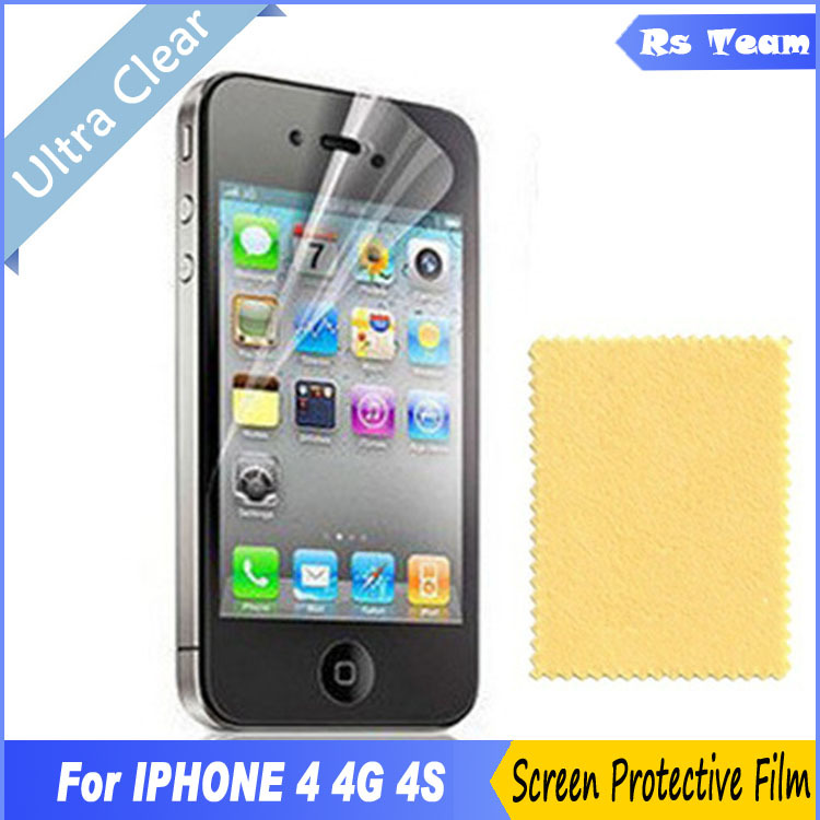 6pcs/lot High Clear Front Screen Protector Screen Guard  Film Display Protective Film For Apple iPhone 4 4G 4S Free Shipping