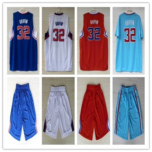 Blake Griffin Jersey Los Angeles 32 T Shirt Sets Retro Authentic Navy BlueThrowback Basketball Jerseys Shorts Suit Sport Clothes(China (Mainland))