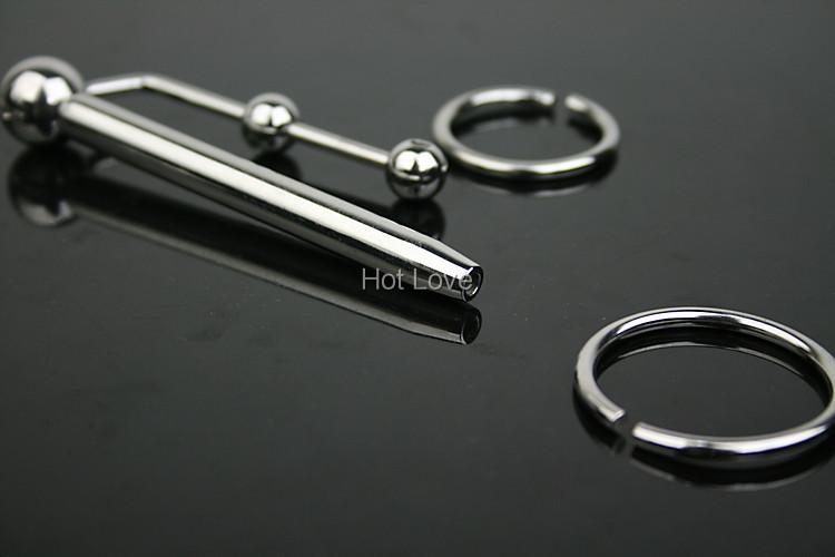 Мужской нержавеющей стали мочевыводящих плагин катетер с 4 клитор пенис кольца металлическая трубка с петух микро-цикла фетиш секс игрушки для взрослых игры A045