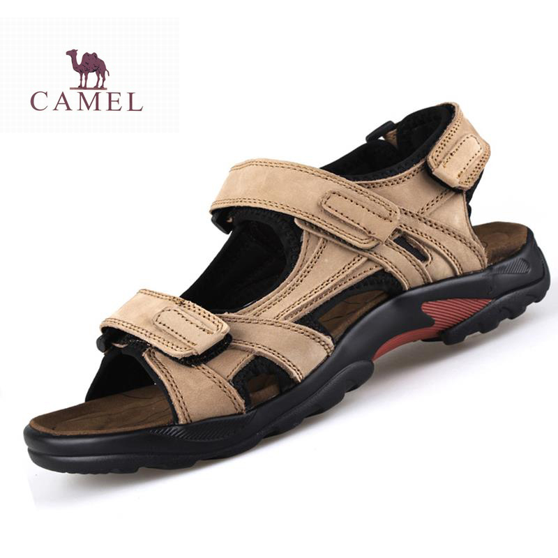 New 2015 Camel Men's Sandals Slippers Genuine Leather Cowhide Sandals Outdoor Summer Casual Men Leather Sandals for Man(China (Mainland))