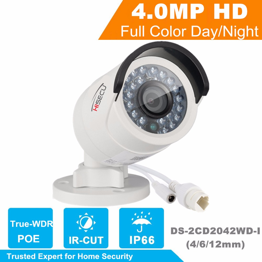 HiSecu IP camera 4MP Bullet Security IP Camera POE Network camera DS-2CD2042WD-I Video Surveillance 4/6/12mm lens