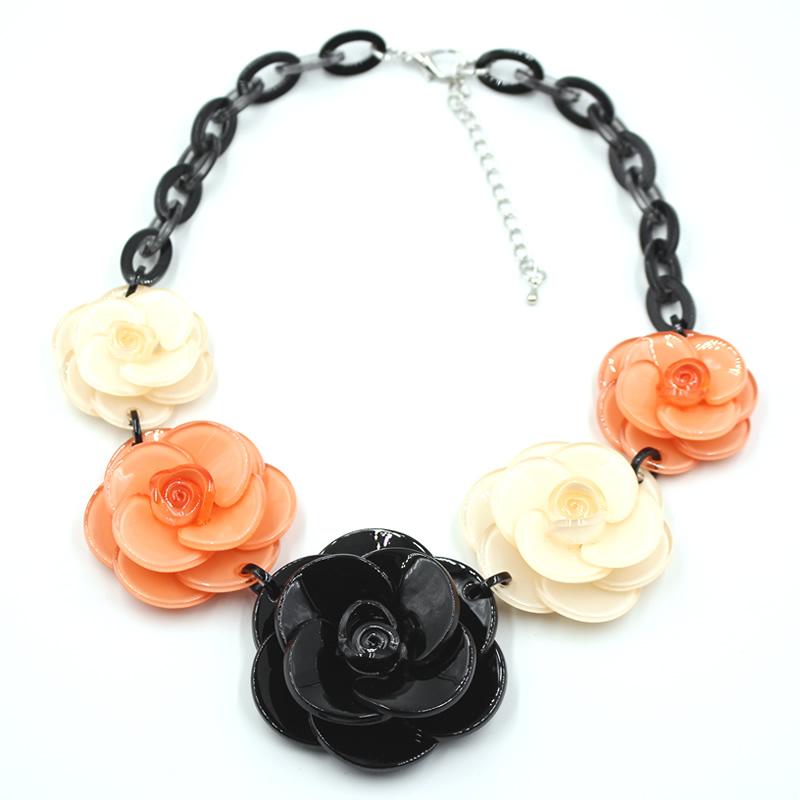 New fashion 2015 Spring Luxury Brand Jewelry Multilayer Design Chain acrylic Resin Crystal black Flower brand Statement Necklace(China (Mainland))