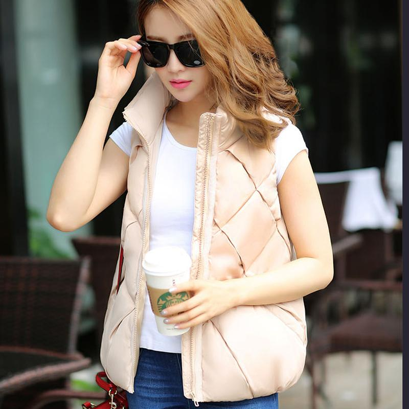 2015 Women Korean fashion vest Autumn keep warm Stand collar Ladies clothing cotton vest winter sleeveless