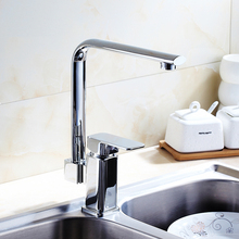 Buy Kitchen sink dish basin faucet hot cold, Copper basin faucet chrome plated, Rotated single hole basin faucet mixer water tap for $48.73 in AliExpress store