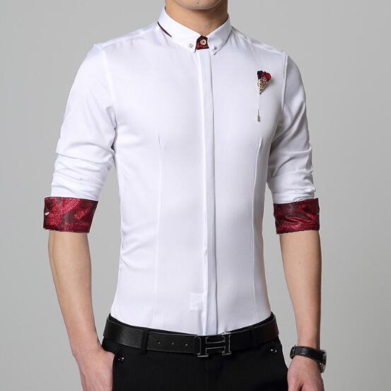 New 2015 fashion summer style slim fit easy care tuxedo for Trim fit tuxedo shirt