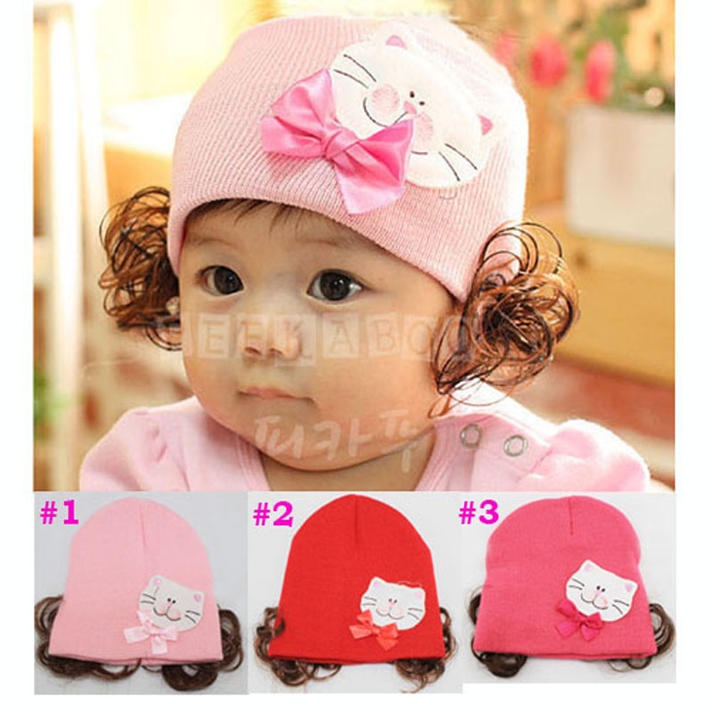 Children Girls Hat Baby Knitted Hat Infant Beanies Toddler Winter Cap Children Cat Hat with Wig 10pcs/lot(China (Mainland))