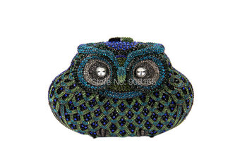 Vintage Owl Shape Evening Rhinestone Clutch Bags Womens Chain Handbags Ladies Party Prom Purse Designer Evening Bags B387#