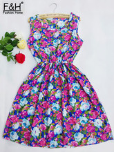 F&H Brand 18 Color Fashion Women New Desigual Sleeveless Round Neck Florals Print Dress 2015 Saias Femininas Summer Clothing(China (Mainland))