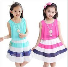 2015 new summer 4-15 age girls casual striped high quality chiffon princess dress child cute vestidos kids hot sale clothes