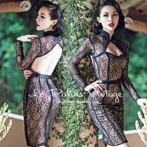 FREE SHIPPING Le Palais Vintage limited edition Retro Black Lace Sexy backless dress tight low cut Perspective dress chi-paoОдежда и ак�е��уары<br><br><br>Aliexpress