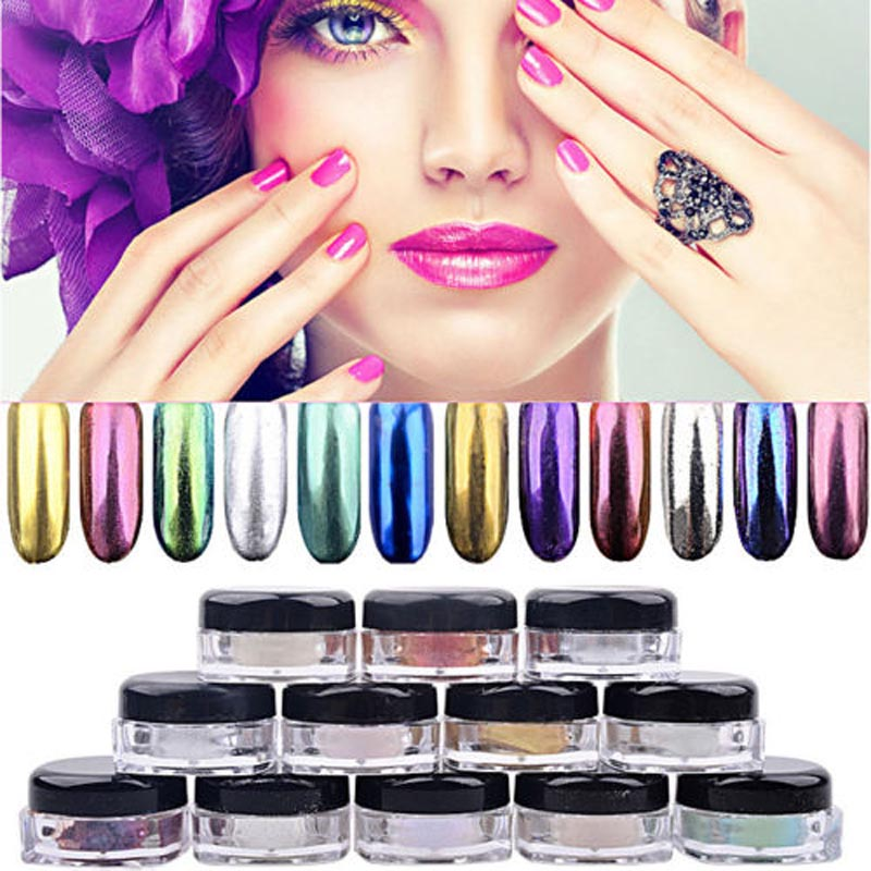 2016 New 12 Pc/Set DIY Shinning Mirror Nail Powder Metal Nail Art Tip Decoration Pigment Glitters Dust Free Shipping NB350(China (Mainland))
