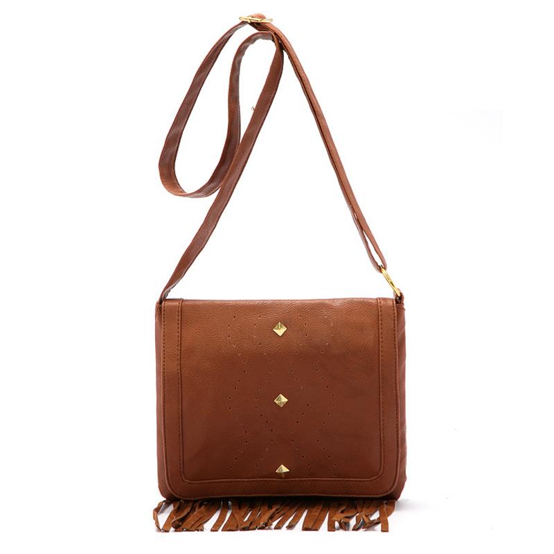 New Ladies HandBags Women Fringe Vintage Bag Brown Cover Shoulder Bags Female Rivet Tassel Crossbody Bag Sac De Marque B128(China (Mainland))