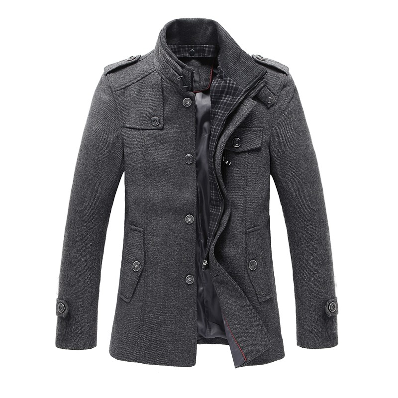Online Cheap Fall New Men Woolen Coats Middle Long Jackets Coats ...