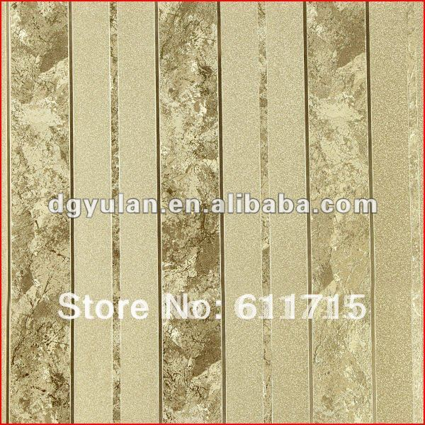 Laminated Vinyl Wallcovering ~ Golden striped classical metallic laminated vinyl