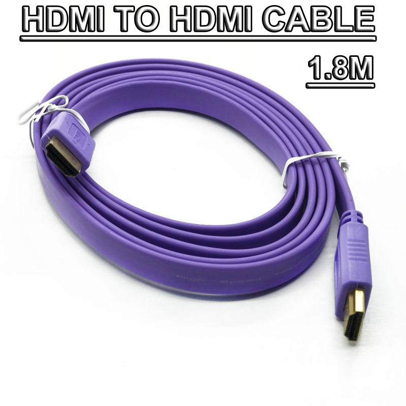 10pcs/lot Flat HDMI to hdmi V1.4 Cable 1.8m HDMI CABLES for HDTV 1080p High Speed Gold Plated free shipping<br><br>Aliexpress