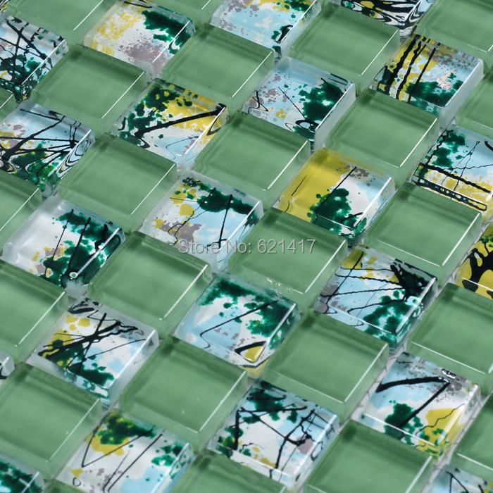 green color painting glass mosaic tiles kitchen backsplash mosaic bathroom shower bedroom wall dining room backsplash
