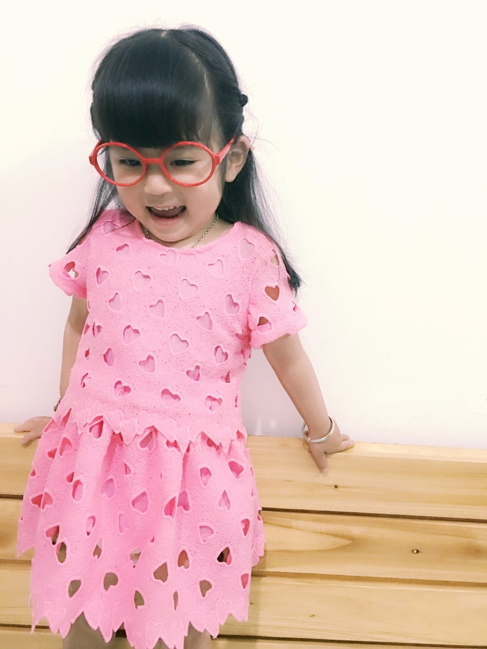 Hot PINK Girls baby Love hollow-out bud silk Dress Childrens clothing wholesale<br><br>Aliexpress