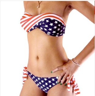 2014 New American Flag tube top bikini swimwear vintage piece swimsuit Women print bikinis set bathing suit beach bikini bottom(China (Mainland))