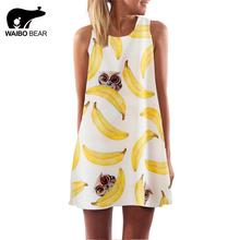 Buy European Style Chiffon Dress Summer Casual Loose O-Neck Sleeveless Print Beach Dresses Plus Size Women Clothing WAIBO BEAR for $8.50 in AliExpress store